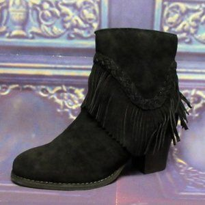 Sbicca Patience Black High Heel Boots Ankle Fringe